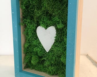 Artistic picture frame of stabilized moss