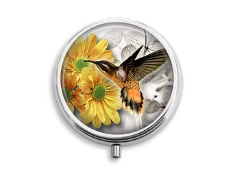 Hummingbird 02 Pill Box, Pill Container, Pill Case, Mints Container, Trinkets Box, Jewelry Box