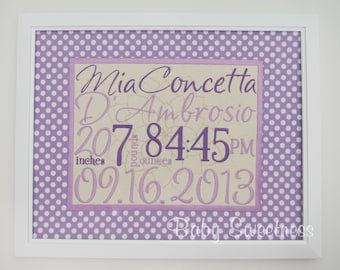 Birth Stats Sign - Purple Polka Dot Nursery Decor - Embroidered Canvas with Fabric Mat - Baby Art - 11X14  - Lavender Nursery Decoration