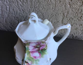 Antique RS Prussia Sugar Bowl Reinhold Schlegemilch Porcelain Factory Covered w/Spoon White Pink Roses - #D2050