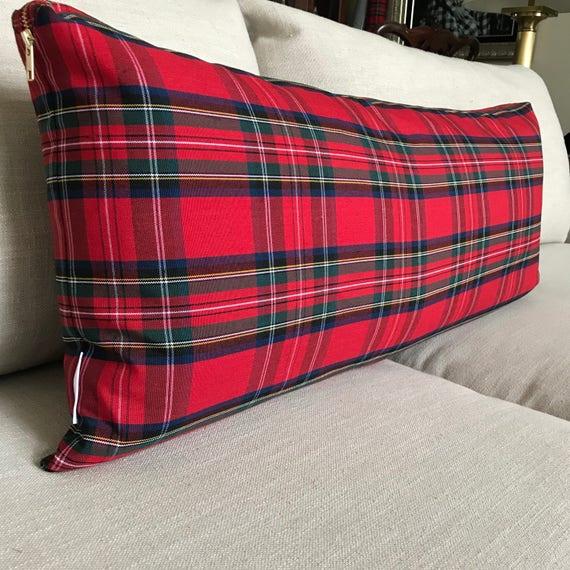 Extra Long Red Plaid Lumbar Pillow Cover, Skinny Lumbar Pillow, Long Lumbar, Christmas Plaid, Stewart Tartan Plaid Pillow, Christmas Plaid