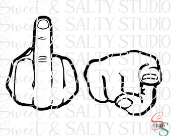 f*ck you fingers (2 versions - outline and layered) digital file