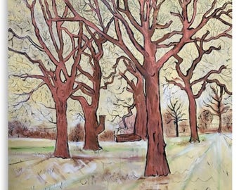 Canvas Print Wall Art Taken From The Original Oil Painting 'The Trees In The Field Clap Their Hands' By Sally Anne Wake Jones