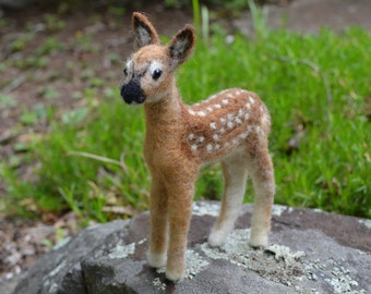 Roscoe the Fawn, needle felted animal sculpture