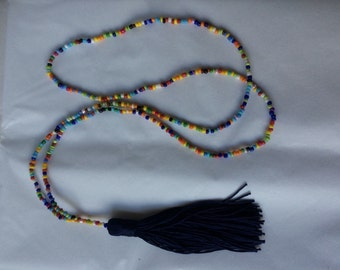 Beaded tassel necklace 55 cm long boho hippie festival love seedbeads