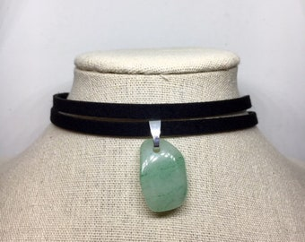 Double Strand Suede Amazonite Crystal Choker - Healing Stone Necklace - Black Leather Suede Choker