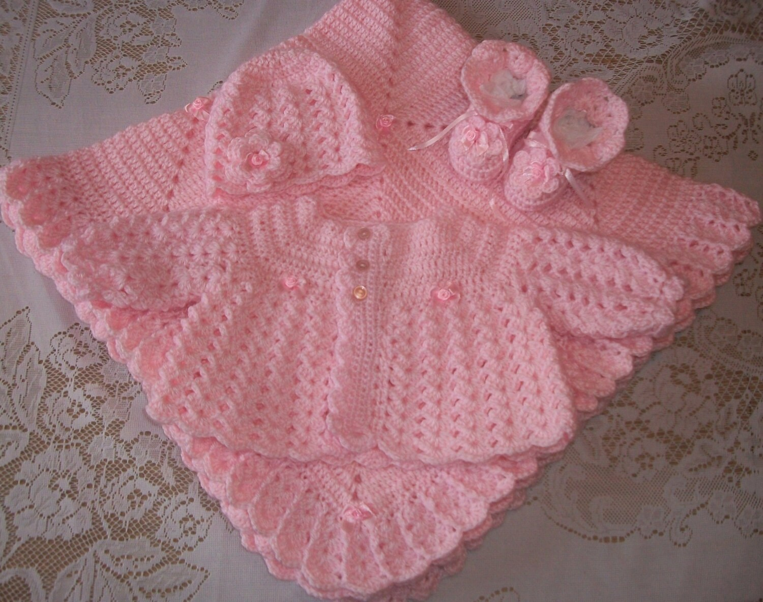 Top Pink Crochet Baby Girl Sweater Set Layette Perfect For Baby UW62