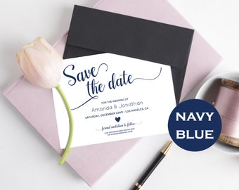 Navy Blue & white Wedding Save the Date Template - Save the Date Printable - Wedding Printable - Calligraphy - Downloadable wedding #WDH0269
