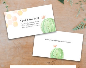 Cactus and Honeycomb Business Card Template - Front and Back