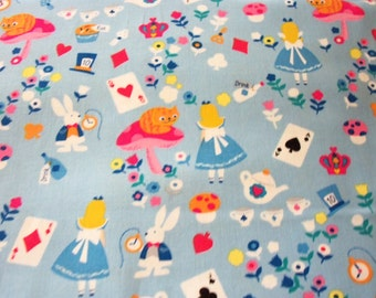 Alice In Wonderland Fabric Rabbit Light Blue Background  New By The Fat Quarter