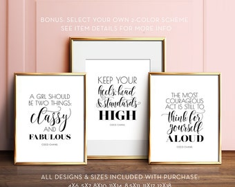 Coco Chanel quotes, PRINTABLE art, Glam decor, Gift for her, Girls room art, Wall art, Inspirational quotes, Salon decor, Black and white
