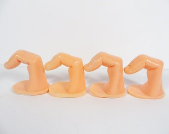 Vintage Plsstic Finger Hooks - Set of 4 Plastic Finger Fingernail Wall Hooks