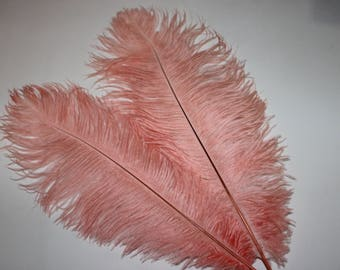 Five ( 5 ) rose pink drabs first grade ostrich feathers 375-425mm
