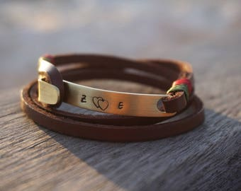 Personalized Bracelet, Personalized Leather Bracelet, Custom Bracelet, Brass and Leather bracelet,Personalized Woman and Men Bracelet  Gift