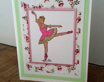 Pink and yellow dress ballerina/ ballet dancer on point. Print of an original drawing of a dancer. Blank greetings card; versatile