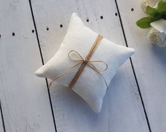 Ivory burap ring pillow, rustic ring pillow, plain ring pillow