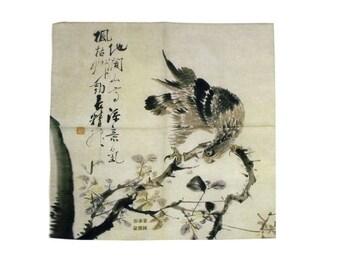 Handkerchief Eagle Oriental Painting Calligraphy Chinese Character Mens Handkerchief Bandana Hankie