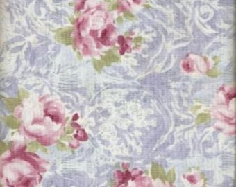 "Nicole by Moda - 9545 13 -Pink flowers on blue - 44"" wide - premium cotton fabric - Price per yard"