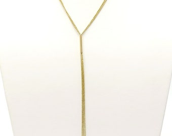 Estate Long Tassel Lariat Necklace / 14k