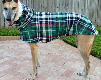 "Greyhound Coat. ""Heavy Green & Navy Plaid Cocoon Coat"" - Greyhound Sizes"