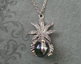 Pot Leaf Necklace, LARGE Marijuana Leaf Necklace, Stoner Jewelry, Hemp Leaf Pendant, Weed Necklace Pot Necklace Pot Jewelry Orb Necklace 420