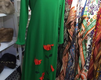Concept 70s Swirl Vintage Retro Green Maxi Dress