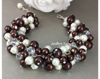 Bridesmaid Gift Brown Bracelet Wedding Jewelry Maid of Honor Gift Cluster Bracelet Coco Bracelet Fall Wedding Bridesmaids Gift