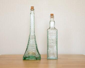 Vintage grand verre bouteilles • Tour Eiffel Paris France • collection bâtiments • Parisian Home Decor • souvenirs Français