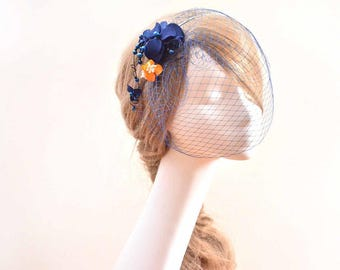 Navy blue birdcage veil headpiece Birdcage veil headband Bridal veil fascinator Bridal head piece White fascinator Flower headpiece