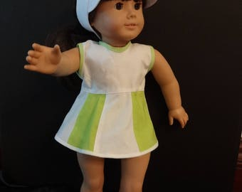 """Tennis Outfit 3 piece for American Girl Doll or 18"""" style"""