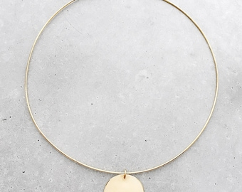 Mound Half Circle Choker / 14k gold vermeil architectural collar necklace / half moon pendant