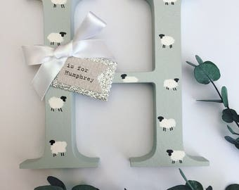Personalised wooden initial letter // Freestanding decoration // New Baby gift for nursery // Christening gift //