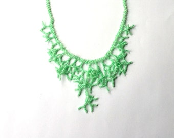 Green  Necklace. Bridal Necklace. Wedding  Necklace. Gift For Her.  Beadwork.
