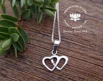 Silver Heart Necklace Pendant Heart Pendant Interlaced Heart Jewelry Romantic Pendant Wedding Jewelry Heart Shaped Pendant Silver Jewelry