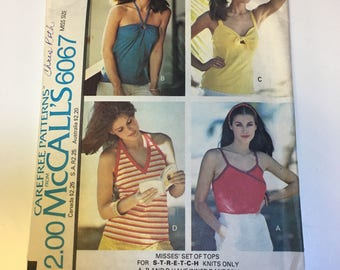 Vtg 70's Tank Top Halter Top Sewing Pattern McCalls 6067 Size 10-12 Small Bust 32-34 Uncut