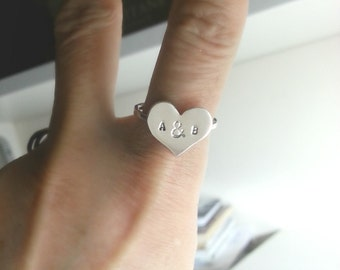 Custom Ring, Personalized Initial Ring, Engrave Ring - Big Heart Ring, Personalized Heart Ring, Valentine Jewelry, Valentine Gift
