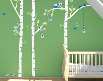 Birch Trees FABRIC Decal Nontoxic REUSABLE DECAL, 146