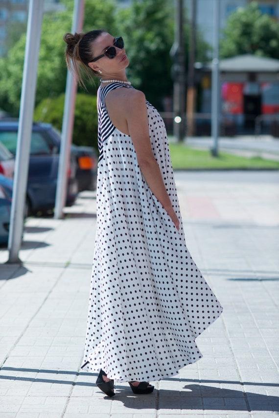 Stunning DR0247CT Women Dresses Long Loose Maxi Polka Dresses Dot Extravagant Women Size Kaftan Dress Maternity Plus Dress a68z8q