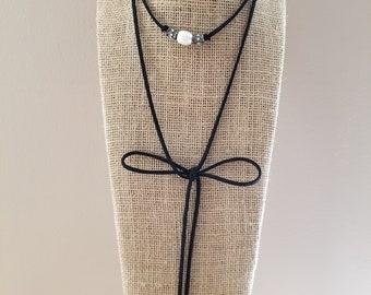 Pearl Suede Leather Tie Neck Wrap Choker Necklace Black Gunmetal Rhinestone Charm