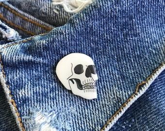 Handmade White Skull Lapel Pin