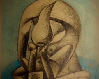 Pablo Picasso cubism original antique handmade drawing