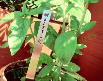 Garden - Herb Marker - Plant Stake - Plant Marker - Hand Stamped - Aluminum - Set