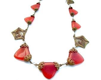 Art Deco Necklace Glass Carnelian Faux Gemstone Necklace Filigree 1920s Jewelry