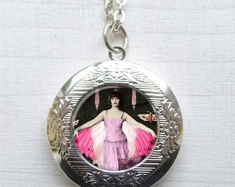 Locket, Art Deco Fairy, Photo Locket, Locket Necklace, Fairy Jewelry