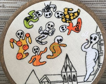 Ghost artwork, Halloween decor, unique thread art, original design, detailed and humorous, colourful and magical, Hallows eve