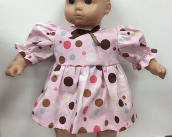 Outfit for American Girl Bitty baby pink polka dot dress