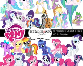 HUGE PACK My Little Pony Clipart ~ 46 Ponies ~ 300 dpi ~ PNG Files ~ plus Logo!
