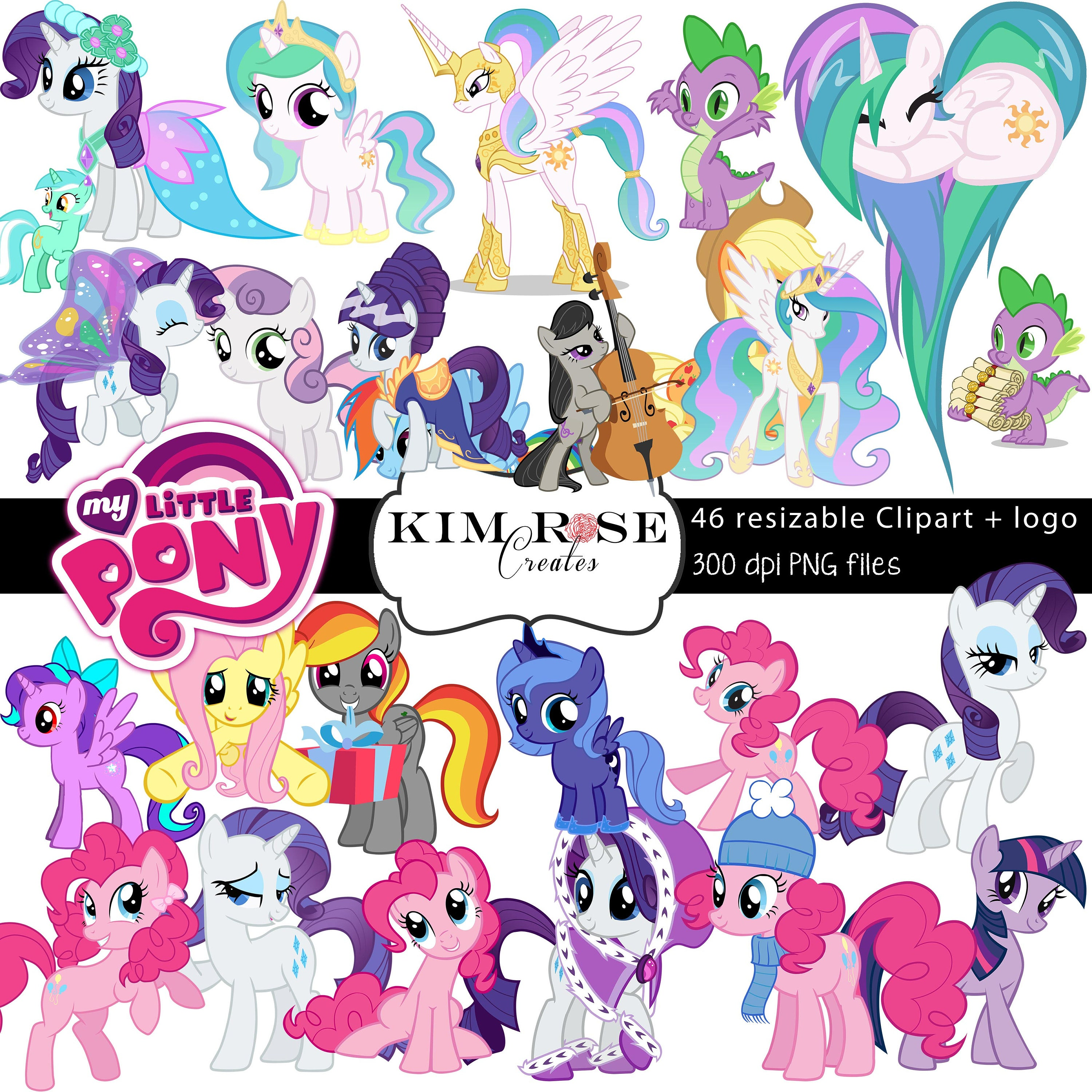 huge pack my little pony clipart 46 ponies 300 dpi png rh etsy com clipart my little pony my little pony clip art free