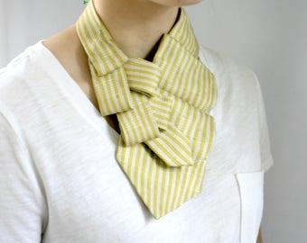 Spring Scarf - Ascot Tie - Necktie Scarf - Work Wear - Striped Scarf - Gift For Mom - Gold Striped Lauren Scarf. 14