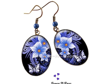 "Earrings ""blue flowers and Butterfly"" fantasy glass cabochon bronze jewelry"